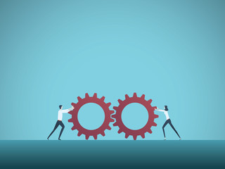 Business teamwork vector concept with businessman and businesswoman pushing gears together. Symbol of cooperation, collaboration, technology, success.