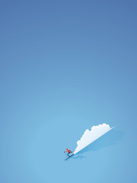 Skiing poster or banner vector concept. Skier in modern flat design going downhill. Miminalist art style.