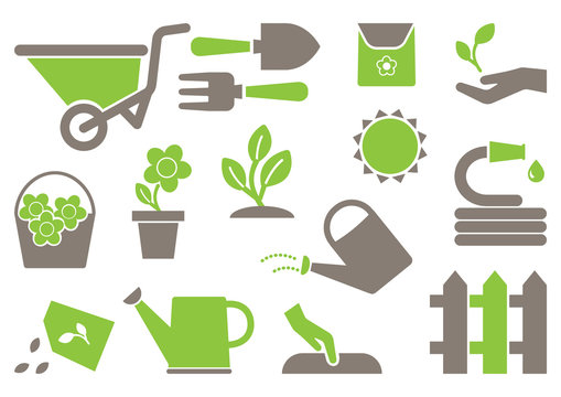 Gardening icons. Green and gray colors. Vector illustration