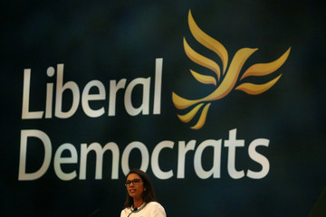 Anti-Brexit campaigner Gina Miller addresses the audience at the Liberal Democrats Conference in Brighton