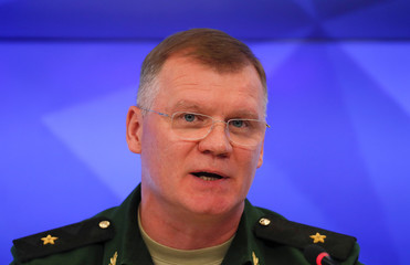 Chief of the directorate of media service and information of the Russian Defence Ministry Konashenkov attends a news conference on the crash of the Malaysia Airlines plane operating flight MH17 in Moscow