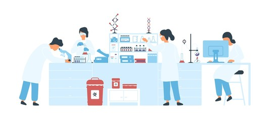 Group of scientists wearing white coats conducting experiments in science laboratory. Male and female researchers in chemical lab. Scientific research. Flat cartoon colorful vector illustration.