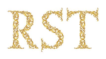 Golden vintage font type letters R, S, T, uppercase.