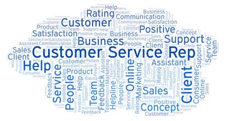 Customer Service Rep word cloud.