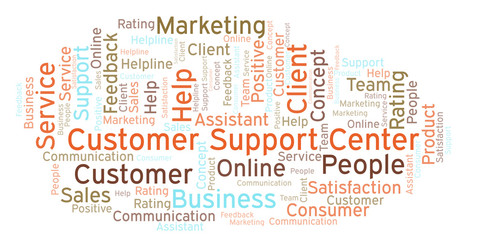 Customer Support Center word cloud.