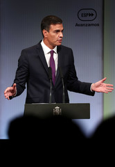 Spain's PM Sanchez delivers a speech during an event marking the first 100 days of his government in Madrid
