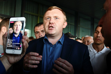 Gubernatorial candidate Ischenko meets with supporters during a rally following the election for governor of Russia's Primorsky Region in Vladivostok