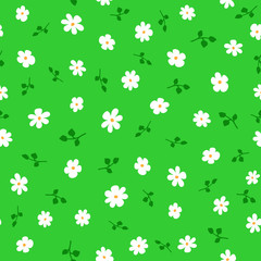 Cute floral seamless pattern with daisies and leaves. Endless print with flowers.