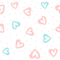 Repeated round dots and hearts drawn by hand with watercolour brush. Cute seamless pattern. Endless girly print.