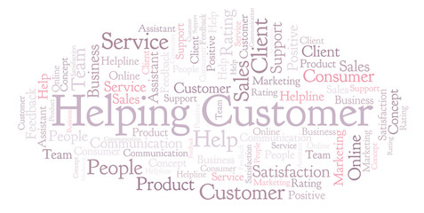 Helping Customer word cloud.