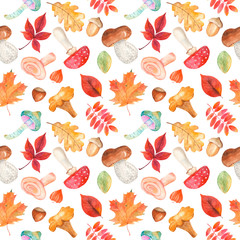 Watercolor seamless pattern with mushrooms, fizalis, acorn, hazelnuts and colorful leaves. Autumn texture for wallpaper, packaging, scrap paper, cover, kitchen design.