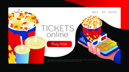 Buy tickets online via smartphone or laptop. It's easy to buy movie tickets. A smartphone in the human hand. Popcorn and soda. Isometric 3d