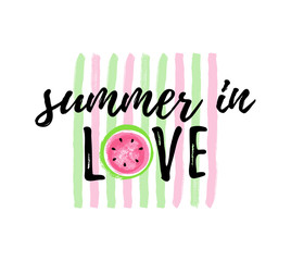 Summer in LOVE Watermelon greeting card, lovely print for t-shirt.