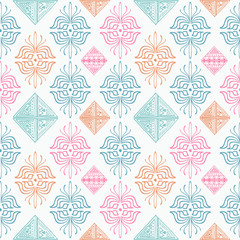 colorful tribal hand drawn pattern motif. Vector illustration popular women fashion textile print and wrapping.