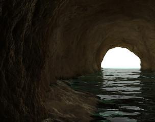 Dunkle Höhle mit Fluß