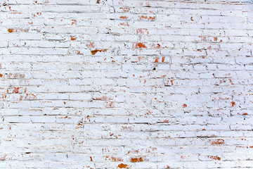 Red White Wall Background. Old Grungy Brick Wall Horizontal Texture. Brickwall Backdrop. Stonewall...