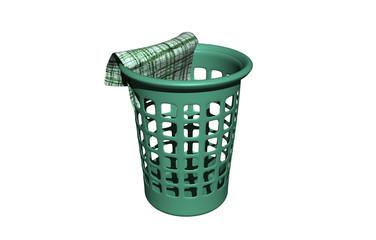 Grüner Kunststoff Korb mit Lappen