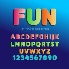 Fun Vector alphabet, font, isolated vector illustration. Cartoon alphabet letters and numbers.