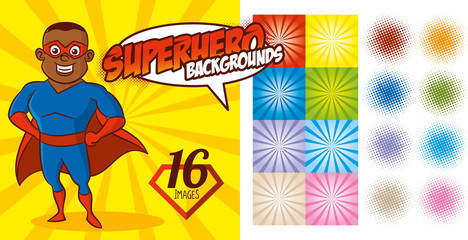 Superhero Background set Super hero character Vector