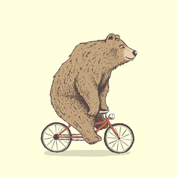 bear is riding a bicycle.Hand drawn style.Vector illustration