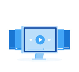 Video tutorials icon concept. Online Webinar and Video Conference sign design. Study and Learning background. Modern vector illustration in flat style