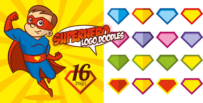 Superhero logo doodles set Super hero character Vector