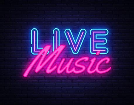 Live Music neon sign vector. Live Music Design template neon sign, light banner, neon signboard, nightly bright advertising, light inscription. Vector illustration