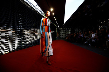 A model presents creations at the Roksanda catwalk show at London Fashion Week Women's in London