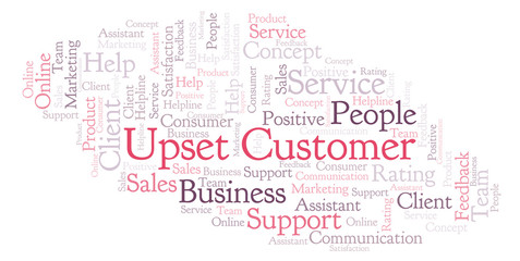 Upset Customer word cloud.