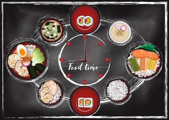 Japanese food ,Ramen  menu  with chalkboard background