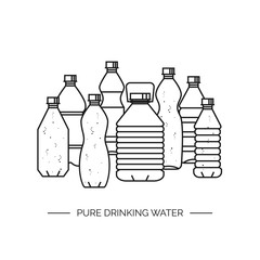 Pure drinking water. Line vector illustration of a group of plastic bottles.