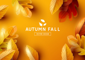 Autumn Vector Background with Falling Leaves
