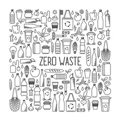 Zero waste concept. Line art collection of eco and waste elements