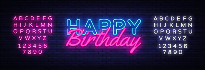 Happy Birthday neon sign vector. Happy Birthday Design template neon sign, light banner, neon signboard, nightly bright advertising, light inscription. Vector. Editing text neon sign