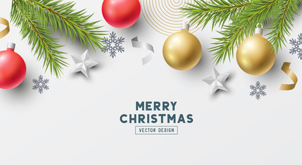 Festive Christmas Composition with fir branches, christmas baubles and snowflakes on a plain background. Top view vector illustration.