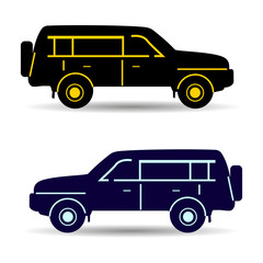 Two cars (black and dark blue), silhouette on white background,