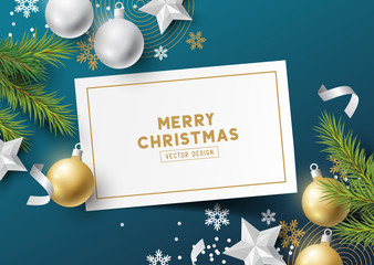 Festive Christmas Composition with fir branches, christmas baubles and snowflakes on a colorful background. Top view vector illustration.
