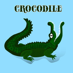 Dark green crocodile with open mouth looking up, cartoon on light blue background,