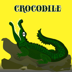 Dark green crocodile with open mouth looking up, cartoon on yellow background,