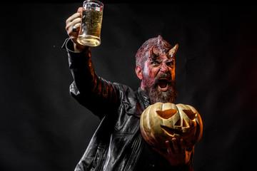 Halloween devil happy shout with glass mug