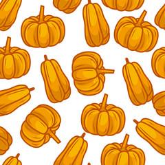 pumpkin vegetable seamless pattern vector illustration