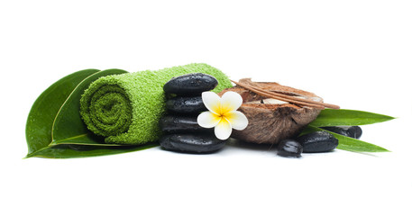 spa tropical objects with candle for healthy therapy massage