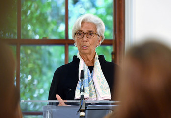 Christine Lagarde, International Monetary Fund (IMF) Managing Director, talks to the media at a news conference to mark the publication of the 2018 Article IV assessment of the UK at the Treasury in London