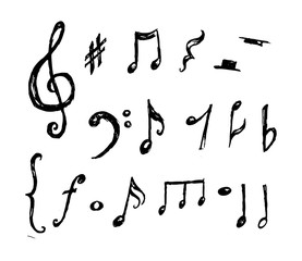 Hand drawn music notes collection vector