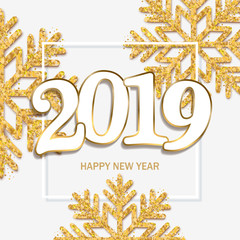 Happy new year design  white background with 2019 and shining gold snowflakes. Vector illustration