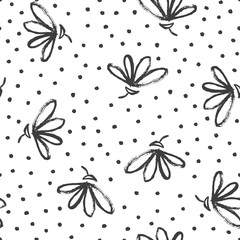 Fototapete - Black and white floral seamless pattern