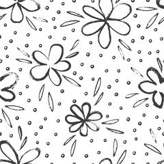 Fototapete - Sketched simple flowers pattern