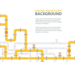 Industrial background with yellow pipeline. Oil, water or gas pipeline with fittings and valves. Vector illustration in a flat style.