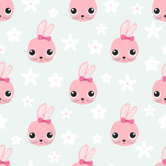 Seamless pattern with cute rabbit face