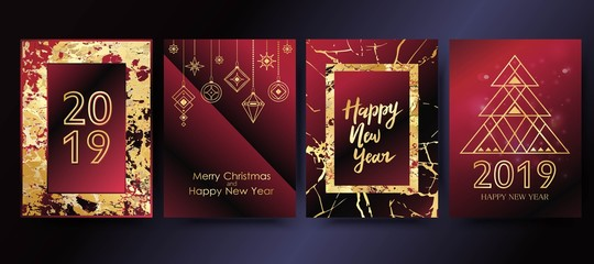 Vector 2019 Happy New Year background with golden marble texture. Christmas holiday greeting card.